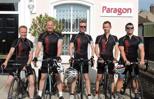Members of Paragon team with their bicycles before charity cycle ride