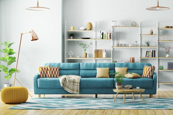 Living room with blue sofa - route planning software for the retail industry