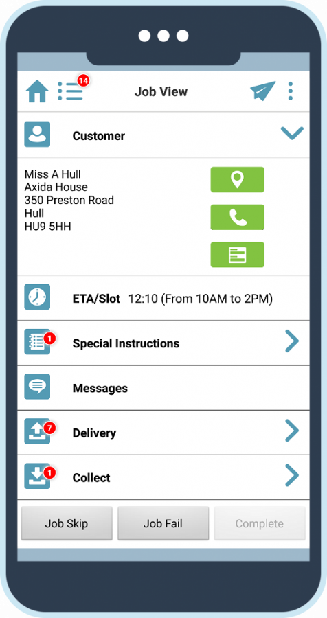Main job screen of the fleXipod proof of delivery application displaying customer details, special instructions and messages tab