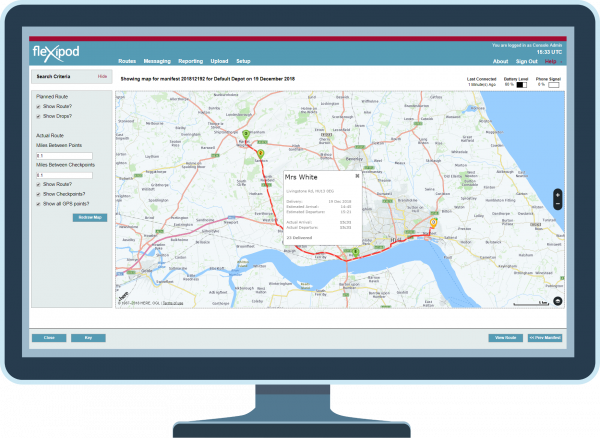 Map screen with customer details of the fleXipod proof of delivery software on a computer screen